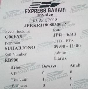 invoice karimunjawa boat ticket
